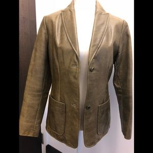 Woman's Olive Green Leather Blazer